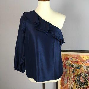 NWT J Crew 100% silk one shoulder ruffle top | 4
